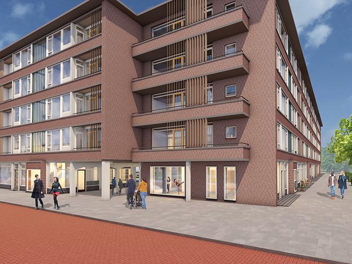 Impressie: De aanwezige poort van de Elisabeth Boddaertstraat/ Johanna Reynvaanstraat wordt vergroot. Het complex wordt volledig gasloos door aansluiting van de woningen op stadsverwarming. In 28 proefwoningen worden 3 woningelementen circulair uitgevoerd